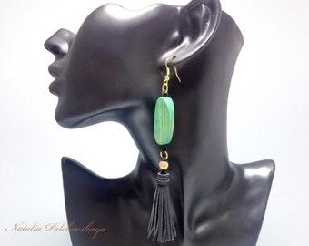 Wooden bead earrings Leather tassel earrings Black and green Long earrings boho OOAK earrings Jewelry handmade Unique jewelry Gift for her