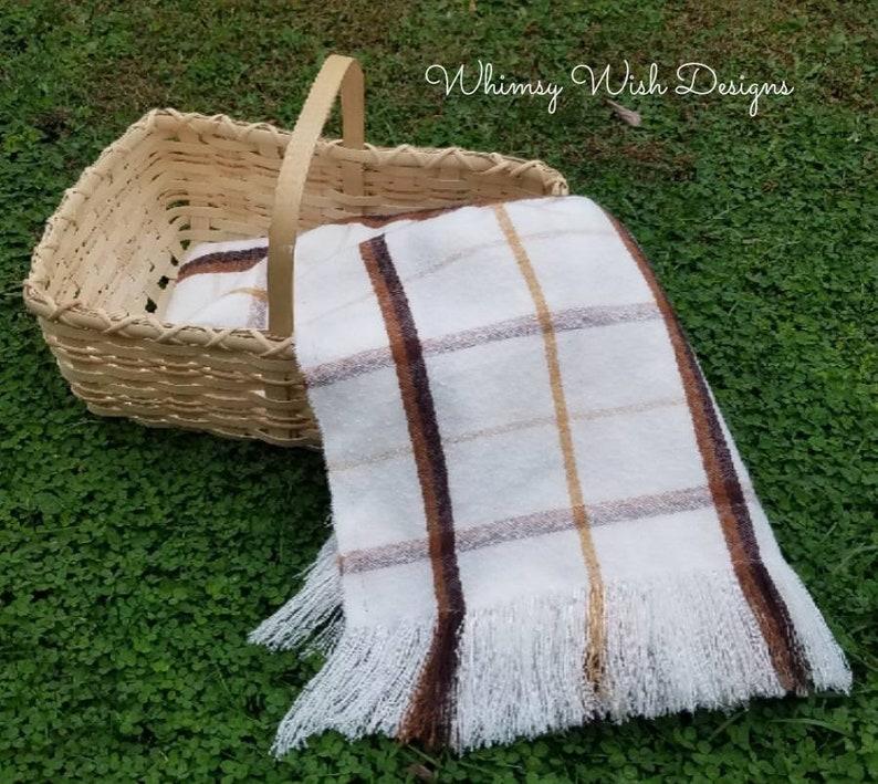Blanket Shawl Cream and Brown Plaid