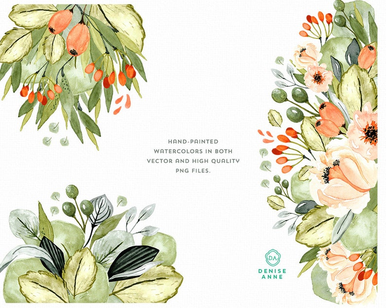 Fall Clipart Flowers Garden Clipart Watercolor Greenery ...