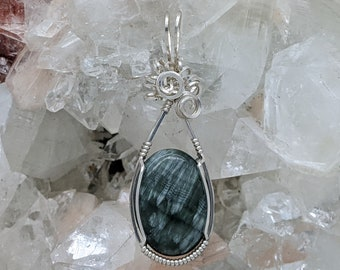 Natural Stone Pendant   (Sterling Silver) (Seraphinite) (Stone) (Wire Wrap) (Wire Wrapped) (Hand Wrap) (Hand Wrapped)