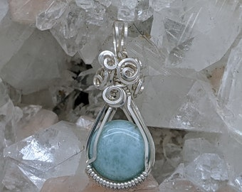 Natural Stone Pendant   (Sterling Silver) (Larimar) (Stone) (Wire Wrap) (Wire Wrapped) (Hand Wrap) (Hand Wrapped)