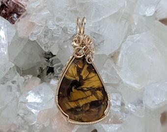 Natural Stone Pendant   (14K Gold Filled) (Pietersite) (Stone) (Wire Wrap) (Wire Wrapped) (Hand Wrap) (Hand Wrapped)