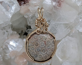 Natural Stone Pendant   (14K Gold Filled) (Coral Fossil) (Stone) (Wire Wrap) (Wire Wrapped) (Hand Wrap) (Hand Wrapped)