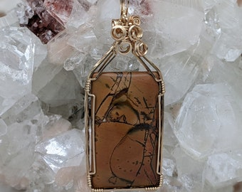 Natural Stone Pendant   (14K Gold Filled) (Red Creek Jasper) (Stone) (Wire Wrap) (Wire Wrapped) (Hand Wrap) (Hand Wrapped)