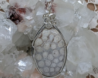 Natural Stone Pendant   (Sterling Silver) (Coral Fossil) (Stone) (Wire Wrap) (Wire Wrapped) (Hand Wrap) (Hand Wrapped)