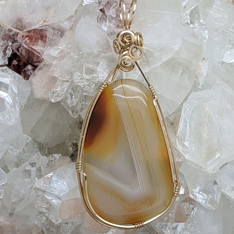 Wire Wrap Natural Stone Pendant Hand Wrap Agate 14K Gold Filled Hand Wrapped Wire Wrapped Stone