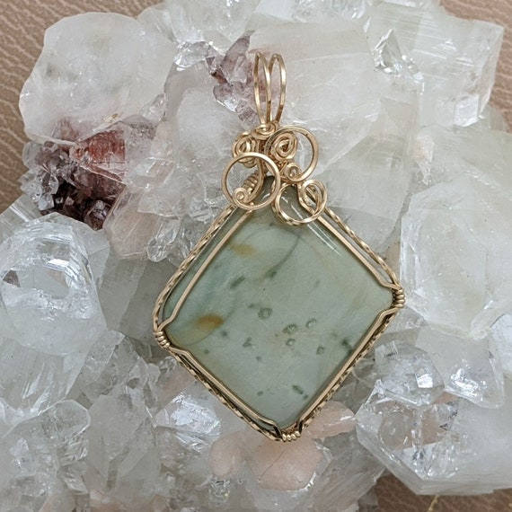 Wire Wrap Hand Wrap Natural Stone Pendant Stone Coral Fossil 14K Gold Filled Wire Wrapped Hand Wrapped