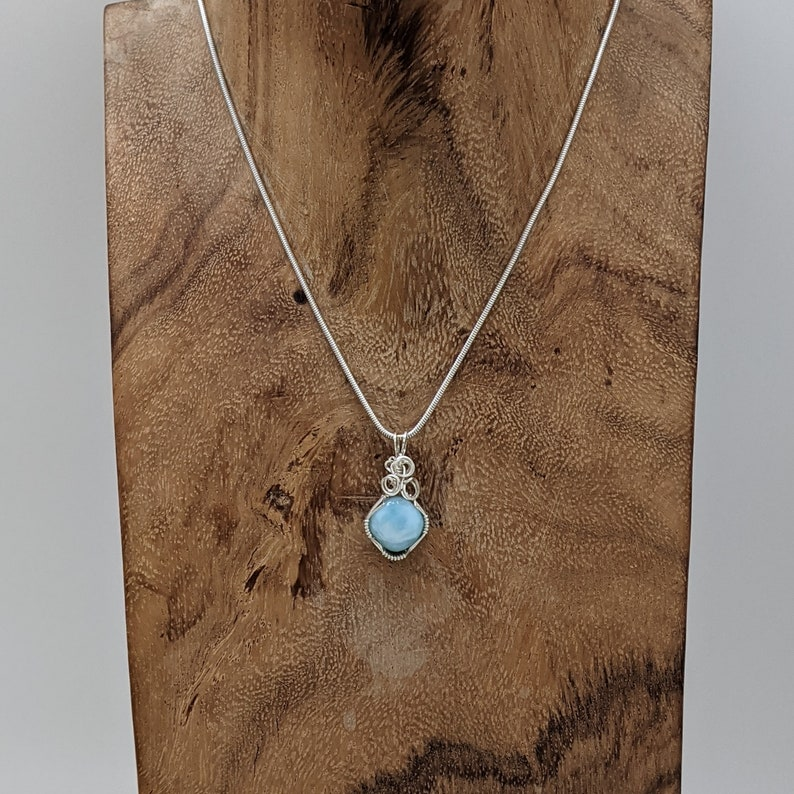 Wire Wrap Natural Stone Pendant Wire Wrapped Sterling Silver Hand Wrapped Larimar Hand Wrap Stone