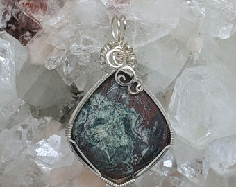 Natural Stone Pendant   (Sterling Silver) (Sonora Sunrise) (Stone) (Wire Wrap) (Wire Wrapped) (Hand Wrap) (Hand Wrapped)