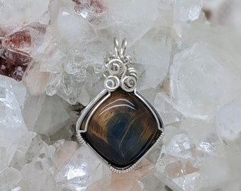 Natural Stone Pendant   (Sterling Silver) (Tiger-Eye Hawks-Eye) (Stone) (Wire Wrap) (Wire Wrapped) (Hand Wrap) (Hand Wrapped)