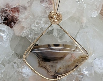 Natural Stone Pendant   (14K Gold Filled) (Montana Moss Agate) (Stone) (Wire Wrap) (Wire Wrapped) (Hand Wrap) (Hand Wrapped)