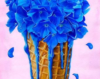Original art - flower ice cream cone