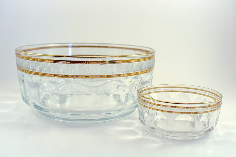 Beautiful Arcoroc France Bowl Set with Thumbprint Design and Gold Bands