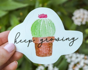 Keep Growing Cactus Sticker - Laptop Sticker, Laptop Decal, Cactus Sticker, Cactus Decal, Succulent Sticker, Succulent Decal, Plant Sticker