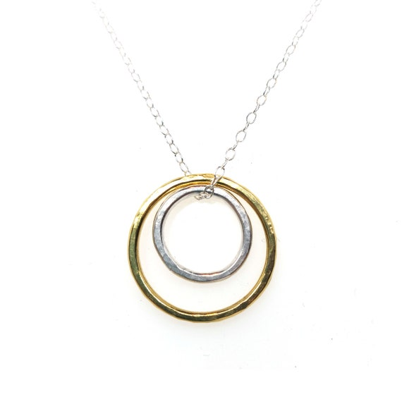 Two-tone Circle Pendant. Gold and silver circle pendant. Mother and child present. Gift for her. Circle necklace.