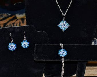 Glass Hand Painted Earrings, Bracelet and Pendent Neckless Blue