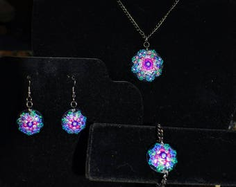 Glass Hand Painted Earrings, Bracelet and Pendent Neckless Purple