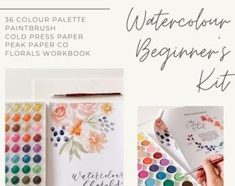 Beginner's Watercolour Kit & Virtual Class   Watercolor paint set    Floral Watercolor Workbook   Watercolour art, spring florals