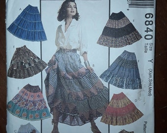 644eb6b411 McCalls's 6840 Skirts Sewing Pattern, Uncut, Misses' Size Xsm, Sml, Med,  Pull-On skirt, four tiered skirt