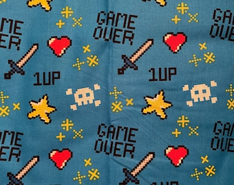 Game Over Video Game Cotton Fabric 1/4 Yd., Fat Quarter, Remnant, quilting fabric, game over fabric, heart fabric, blue fabric