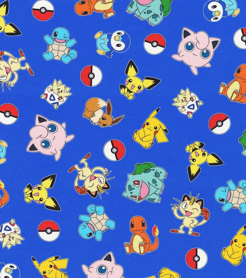 Pok\u00e9mon fabric By the Yard Squirtle Pok\u00e9mon Fabric Pikachu Cotton Fabric Fat Quarte togapi fabric Pikachu fabric poke ball fabric
