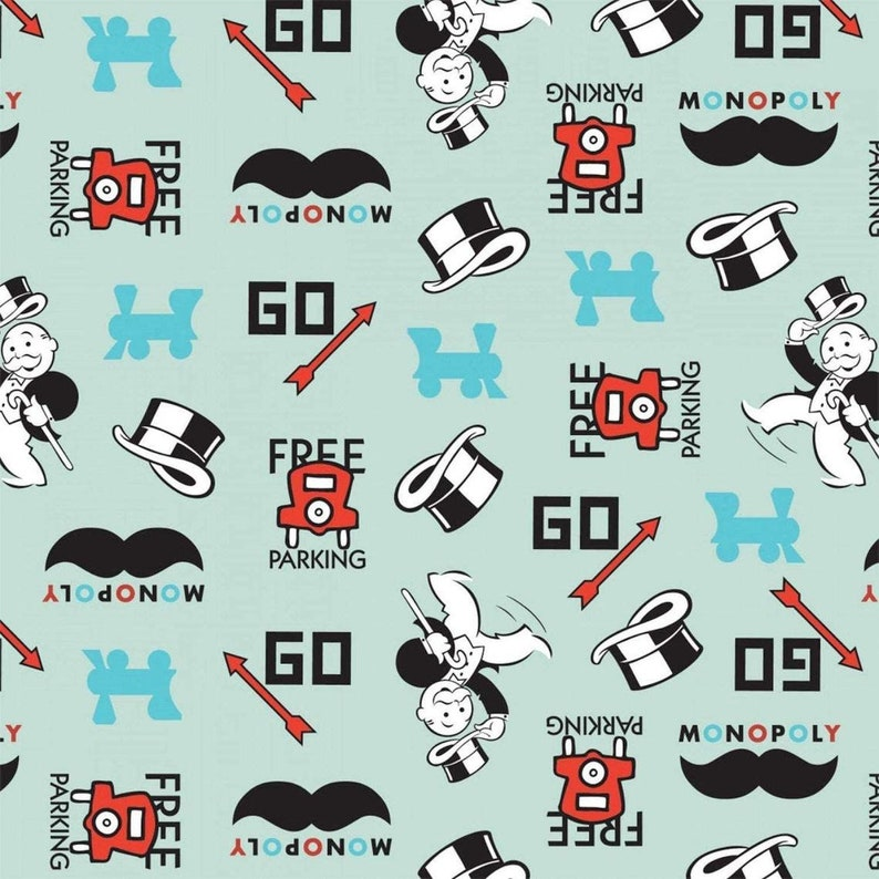 By the Yard quilting fabric Monopoly Icons Fat Quarter Mustache Fabric Cotton Fabric Monopoly Fabric Board game Logo fabric
