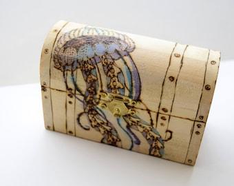 Custom Wood Burned Jewelry Chest, Custom Jewelry box