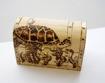 Turtle Jewelry Chest, Custom wood burned Jewelry box