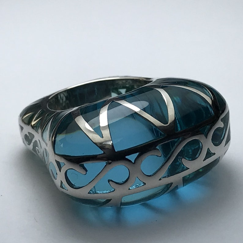 Designer women/'s ring in Silver 925 and resin