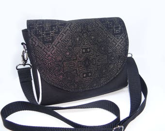 Saddle bag with a Gold aztec print | Side bag | Messanger bag | cute summer bag