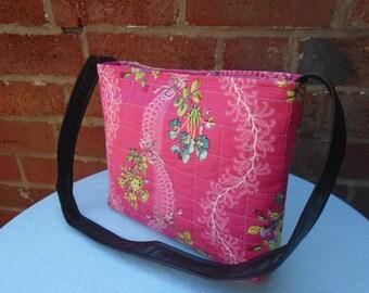 Mini tote - pink floral | small book bag | mini shoulder bag