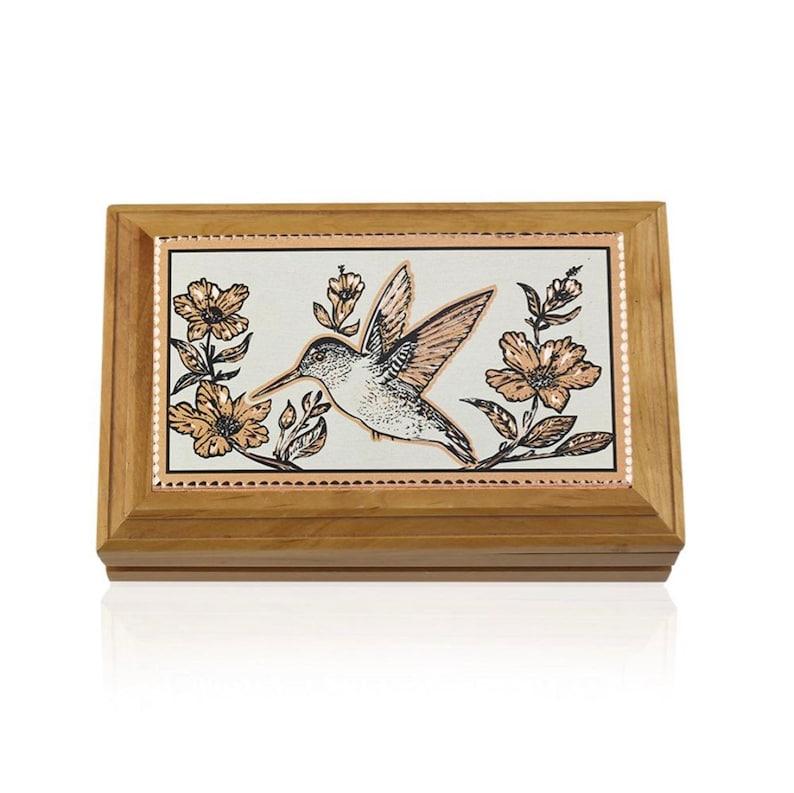 Hummingbird Jewelry Box Unique Gift for Mom Wooden Keepsake Box Hummingbird Wooden Box Handcrafted Wooden Storage Box Wood Utility Box