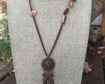 Copper Amber Leather Necklace