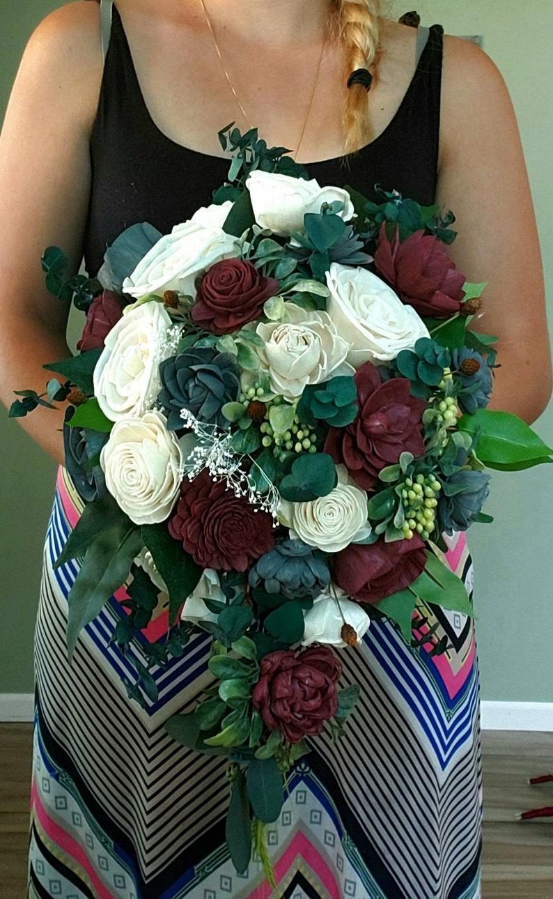 sola wood flowers Burgundy and grey wedding bouquet cascade bouquet