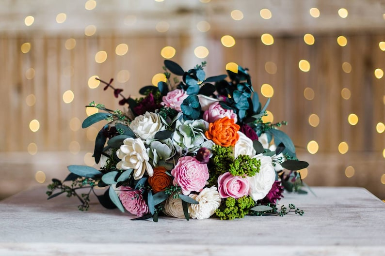 sola wood flowers Whimsical bouquet burgundy blush wedding bouquet