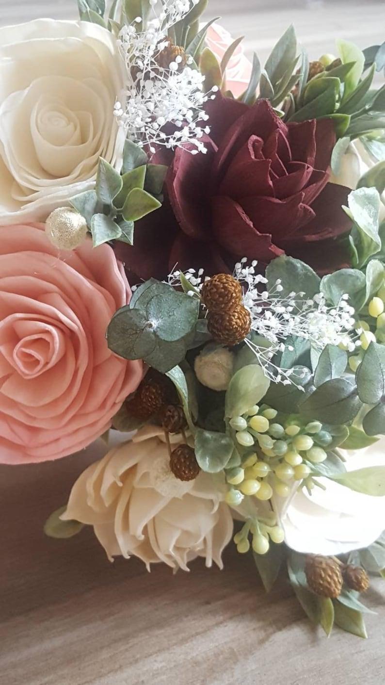 rustic wedding sola wood flower Blush and burgundy bridal bouquet