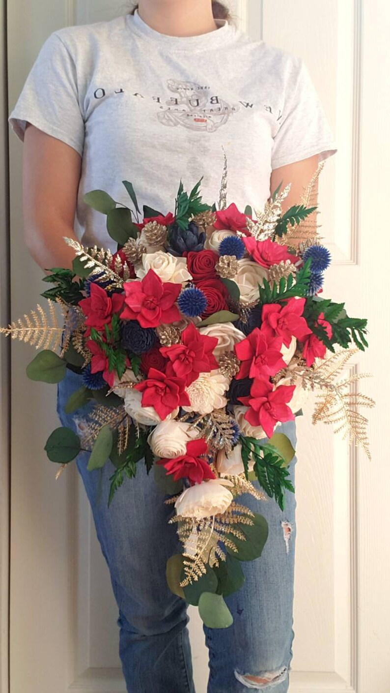 sola wood flowers Poinsettia wedding bouquet