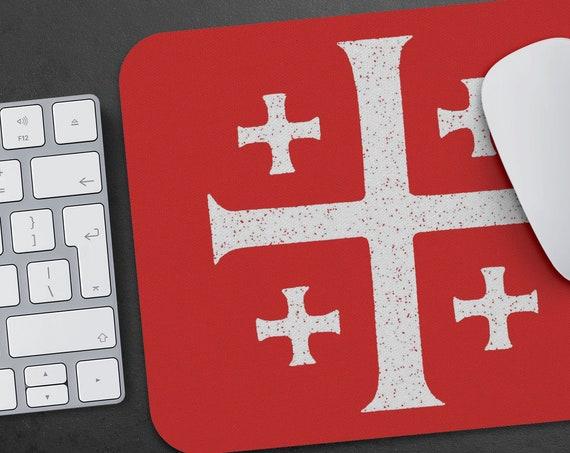 Jerusalem Cross Vintage Distressed Graphic Mousepad