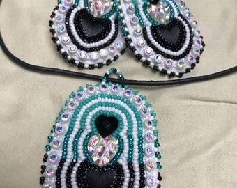 Handmade Native American earrings and necklace set