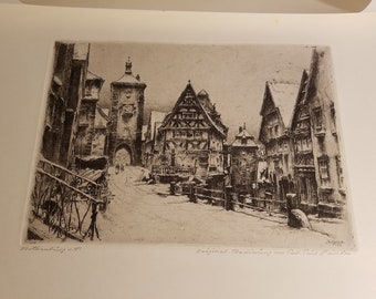 "Paul Geissler Etching ""Rothenburg O.T."" and ""Roma"""