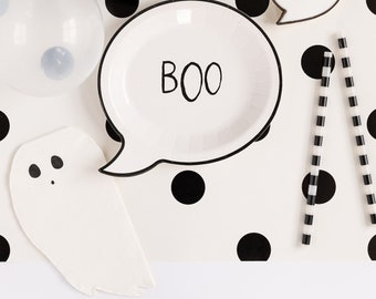 BOO Plates and Ghost Napkins Set, Halloween Tableware, Halloween Party, Halloween Plates, Halloween Napkins, Party Decorations, Spooky Decor