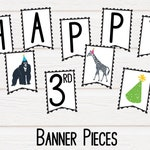 Party Animals Banner, Zoo Animals, Zoo Animals Banner, Safari Party, Birthday Banner, Black and White Banner, Safari Animals, Banner Letters