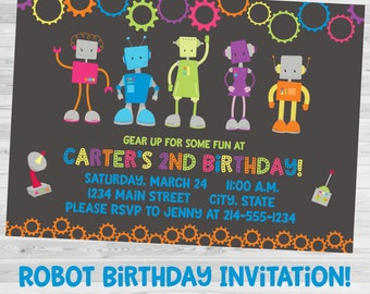 Robot Birthday, Robot Invitation, Robot Party, Birthday Invitation, Robot Birthday Party, Printable Invitation, DIY, Robot Party Invitation