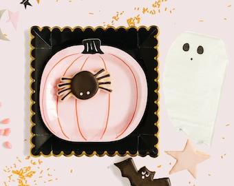 Halloween Party Set, Plates and Napkins Set, Halloween Decor, Halloween Tableware, Pink Pumpkin Plates, Ghost Napkins, Pink and Black Plates