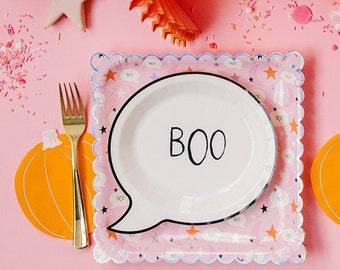 Halloween Party Kit, BOO Halloween Plates, Plates and Napkins, Halloween Table Kit, Halloween Party Decor, Pink and Orange, Ghost Plates