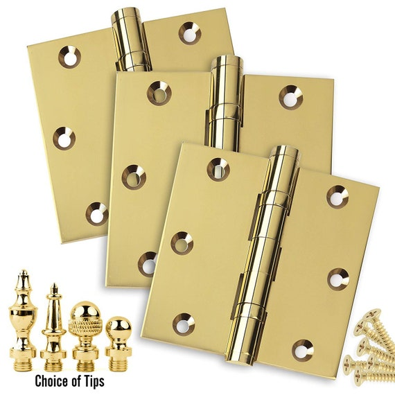 Door Hinges 4 x 4 Extruded Solid Brass Ball Bearing Polished Brass Architectural Grade Urn Tips Included 3 PK