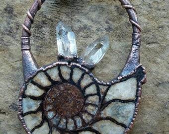 Ammonite and Lemurian quartz pendant