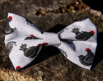 Boys Yellow With Chickens Clip On Cotton Bow Tie