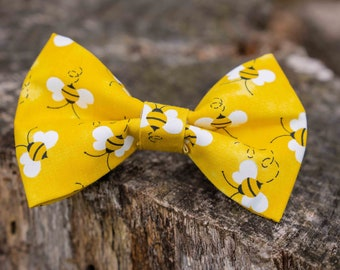 Bumble Bee and Floral Bow Tie Bee bow tie flowers bow tie Puppy Bow Dog Bow tie Dog Clothe Dog Accessories