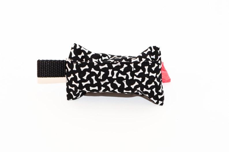 Fabric Dog Poop Bag Holder Black Dog Bone Print Dog Poop Bag Bone Print Pet Waste Bag Holder Dog Bone Print Fabric Pet Waste Bag Holder